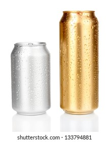 cans with water drops isolated on white