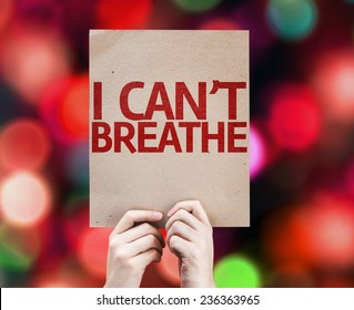 I Can't Breathe card with colorful background with defocused lights