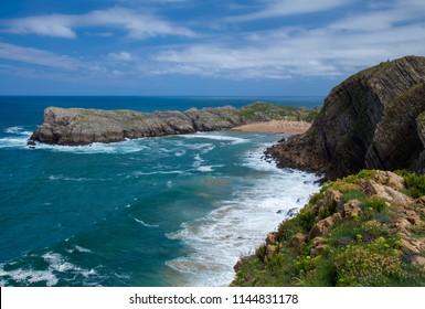 Cantabria, Costa Quebrada, view towards beach Playa de Somocuevas