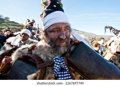Silió, Cantabria, Spain - January 6, 2013: La Vijanera is a winter masquerade that takes place in the Spanish town of Silió, in Cantabria, on the first Sunday of each year.