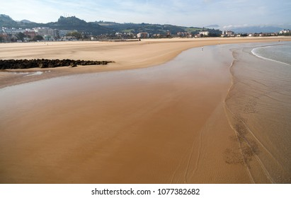 Cantabrian sea beach in Laredo, province Santander,Spain.