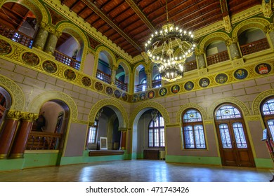 "The Cantacuzino Palace, June 10, 2016 in Busteni, Romania. Inner view of the Cantacuzino Palace that was build by Gheorghe Grigore Cantacuzino alias ""Nababul""."