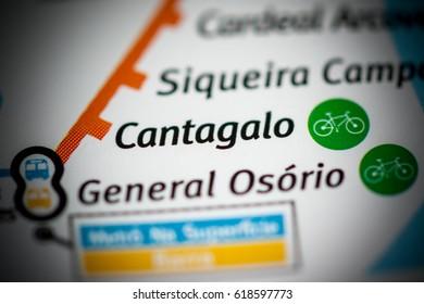 Cantagalo Station. Rio de Janeiro Metro map.