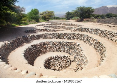 Cantalloc Aqueduct in Nazca, spiral  or circle aqueducts or wells, Peru