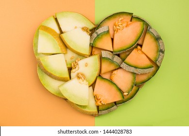 Cantaloupe and Honeydew Melon Slices in Heart Shape, Diet Concept