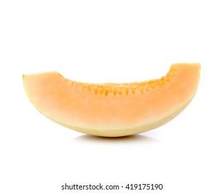 cantaloupe malons slices on white  background