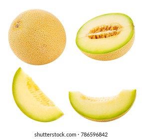 Cantaloupe melon collection isolated on white background Clipping Path