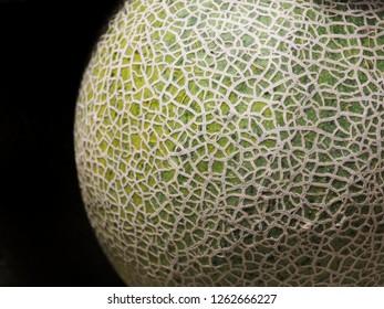 Cantaloupe melon fruit green peel unique pattern on black background ,Peel texture,Fruit peel,close up texture,