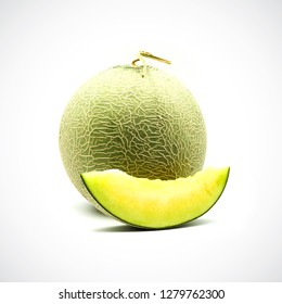 Cantaloupe Melon, with green flesh on the White Blackground.