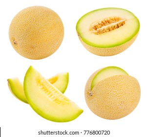 Cantaloupe melon isolated on white background Clipping Path