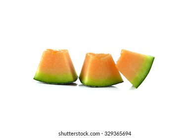cantaloupe melon on white background.