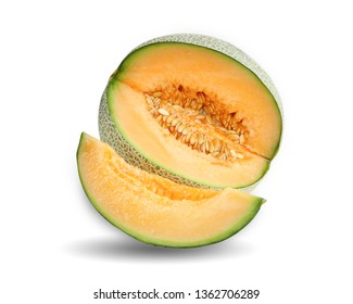 Cantaloupe melon slices isolate on white background with clipping path.