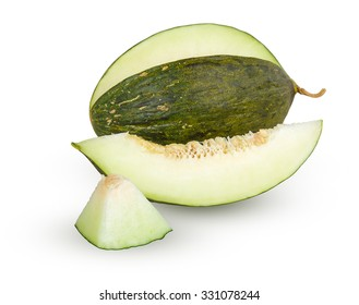 Cantaloupe melon with slices isolated on white background with Clipping Path