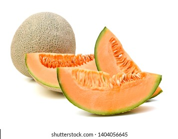Cantaloupe melon whole and slices on white background