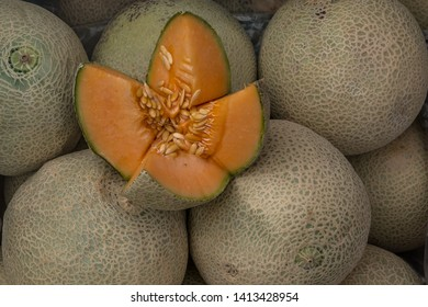 Cantaloupe melons in market ,Cantaloupe melons background,