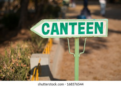 canteen direction and sign board on road side