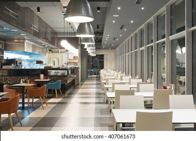 Canteen interior in the evening