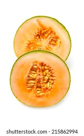Canteloupe melon fruit (Cucumis melo) isolated on a white studio background.