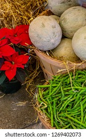 Canteloupes and String Beans in baskets on display at the PA Farm Show.