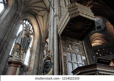 Canterbury Cathedral. England. 16/08/2009. The vertiginous Gothic architecture.