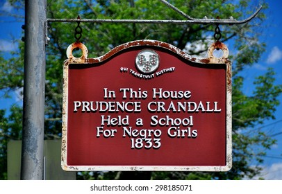 Canterbury, Connecticut - July 10, 2015:  Historic sign at the Prudence Crandall House where a school for Negro Girls was established in 1833  *