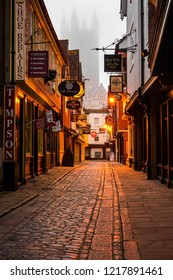 Canterbury, England - April 14 2018: A misty morning on the lonely streets of historic Canterbury.