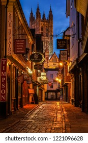 Canterbury, England - April 15 2018: Butchery Lane with it's lovely shops in the historic Canterbury seen at blue hour.