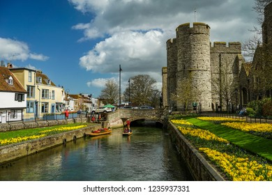 Canterbury, England - April 15 2018: West gate gardens in Canterbury seen on a beautiful sunny day.