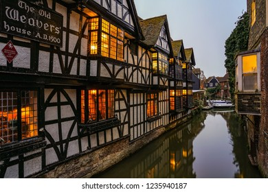 Canterbury, England - April 15 2018: The Old Weavers house in Canterbury seen at blue hour.