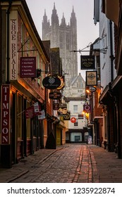 Canterbury, England - April 16 2018: Butchery Lane with it's lovely shops in the historic city of Canterbury seen in the morning.