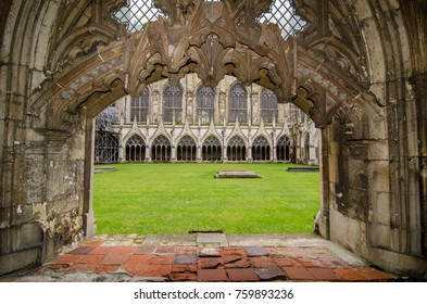 Canterbury, England. February 2014. Cloister Garden in Canterbury Cathedral, Kent.
