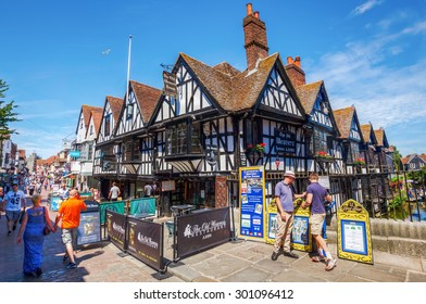 CANTERBURY, ENGLAND - JULY 10, 2015: street view with unidentified people of the old town of Canterbury, Kent, England. Canterbury is a historic English cathedral city
