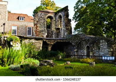 CANTERBURY, ENGLAND - SEPT 27, 2016: THE RUINS INSIDE THE HERB GARDEN AT CANTERBURY CATHEDRAL.
