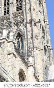 CANTERBURY, GREAT BRITAIN - MAY 15, 2014: This is an architectural fragment of the decoration of one of the towers of the Canterbury Cathedral.