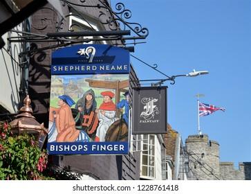 CANTERBURY - JUNE 30, 2018. Projecting signs at St Dunstan Street in Canterbury, Kent, England, UK.