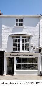 CANTERBURY, KENT, UK - JUNE 30, 2018. The Canterbury Glass Art shop on Palace Street in the city of Canterbury, Kent, England, UK.