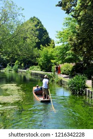 CANTERBURY, KENT, UK - JUNE 30, 2018. Punting on the River Stour at Canterbury in the English county of Kent, UK.