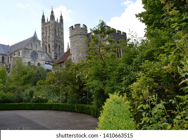CANTERBURY, KENT / UK - MAY 25 2019: The world famous Canterbury Cathedral opened it's precincts for the annual Open Gardens. Visitors enjoyed visiting the private gardens and classic car display.