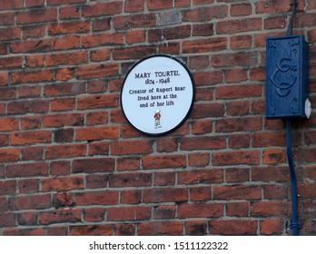 Canterbury, Kent UK - October 28 2007: plaque commemorating residence of Mary Tourtel in Ivy Lane, Creator of Rupert Bear