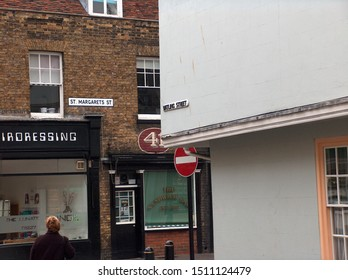 Canterbury, Kent/UK - October 28 2007: junction of historic Watling Street and St Margarets Street in Canterbury with street signage