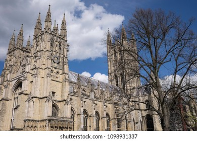 CANTERBURY, KENT/UNITED KINGDOM - APRIL 24 2016 - View at Canterbury Cathedral in early spring with blue sky and clouds