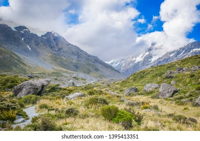 Canterbury, New Zealand, Feb 14th, 2019:view of  Hooker Valley track at Aoraki Mountain Cook National Park,  panorama landscape