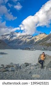 Canterbury, New Zealand, Feb 14th, 2019: Hooker Lake, The Glacier Lake at the end of Hooker Valley Track, Aoraki Mountain Cook National Park, New Zealand
