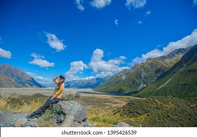 Canterbury, New Zealand, Feb 14th, 2019:view of  Kea Point Track at Aoraki Mountain Cook National Park,  panorama landscape