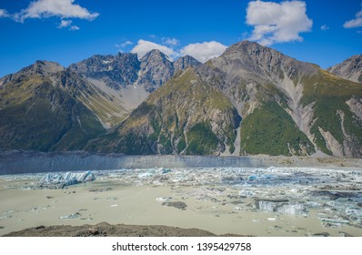 Canterbury, New Zealand, Feb 14th, 2019: Mueller Lake, The Glacier Lake at the end of Kea Point Track at Aoraki Mountain Cook National Park,  panorama landscape