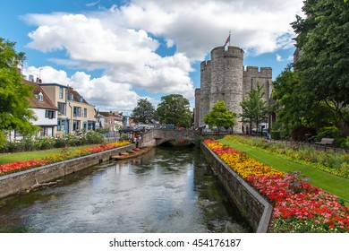 CANTERBURY, UK - 12JUL2016: Westgate Tower and the River Stour, seen from Westgate Gardens.