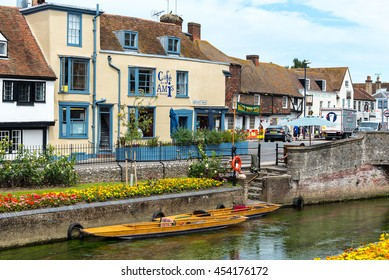 CANTERBURY, UK - 7JUL2016: Punts for hire on the River Stour, Canterbury.