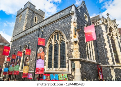 Canterbury, UK - August 20, 2017: The Canterbury Tales museum housed in the historic church of St Margaret's.
