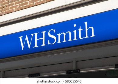 CANTERBURY, UK - FEBRUARY 13TH 2017: The sign for a WHSmith storefront in Canterbury, UK, on 13th February 2017.