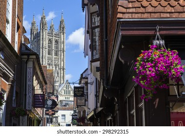 CANTERBURY, UK - JULY 19TH 2015: A view of the historic Canterbury Cathedral through the narrow streets of Canterbury in Kent, on 19th July 2015.